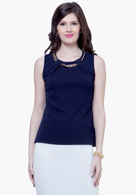 Gold Chain Link Top - Navy