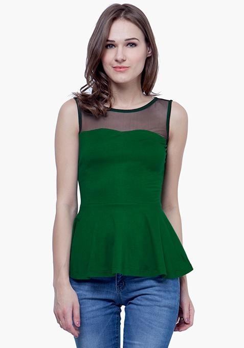 Green Dash Peplum Top