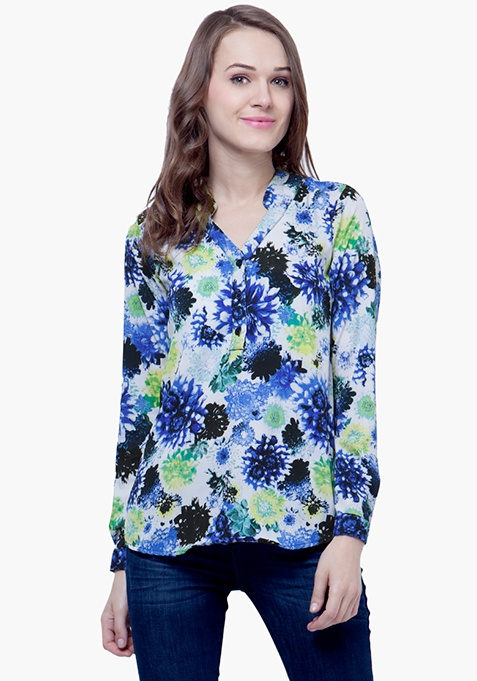 Blue Rush Floral Blouse