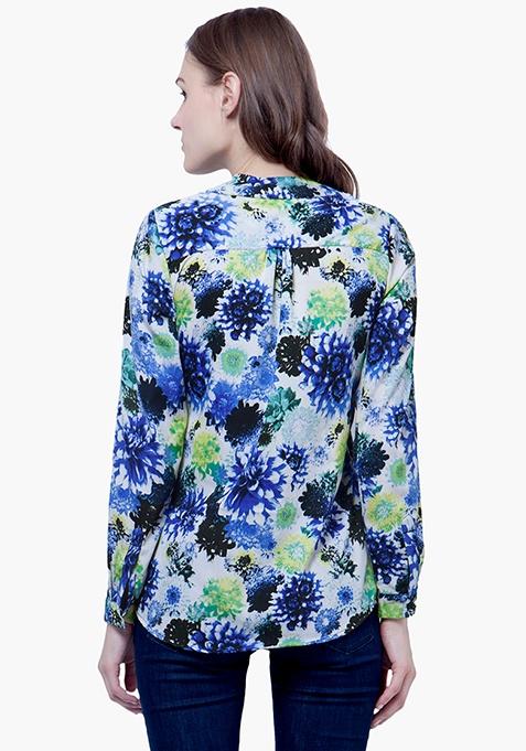 Blue Rush Floral Blouse