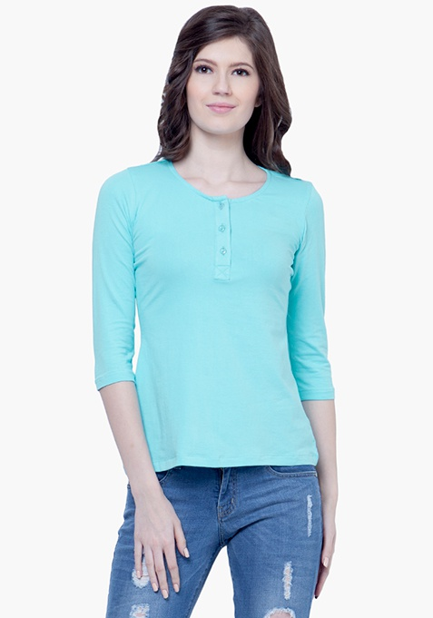 Classic Henley Tee - Blue