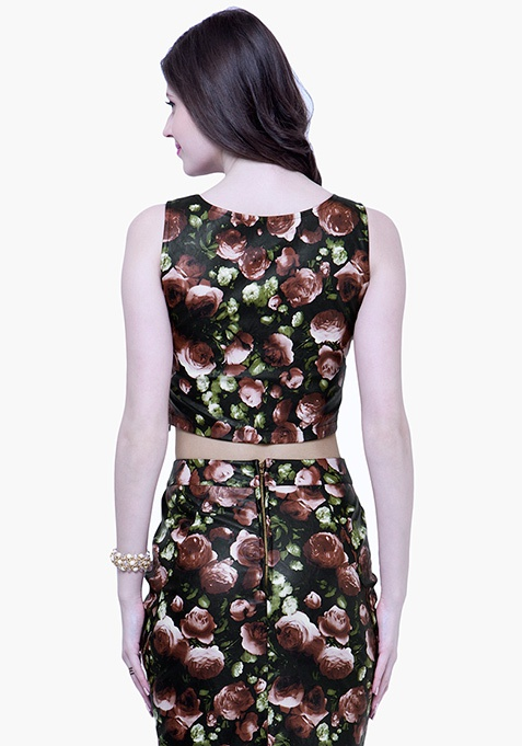 Floral Leather Crop Top