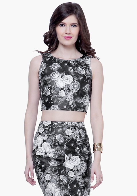 Leather Crop Top - Monochrome