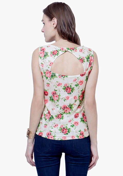 Love Back Lace Top - Floral