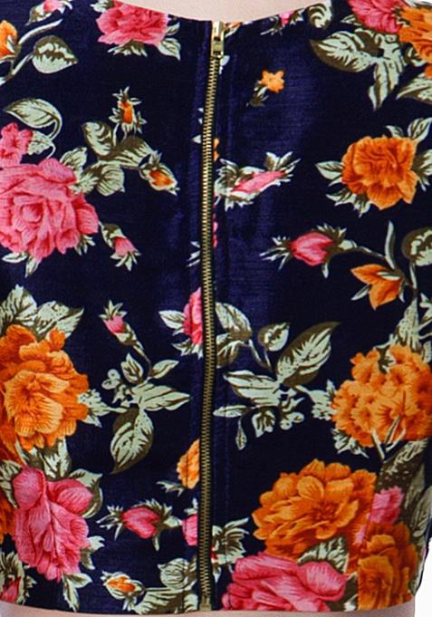 Navy Blooms Silk Crop Top - Orange