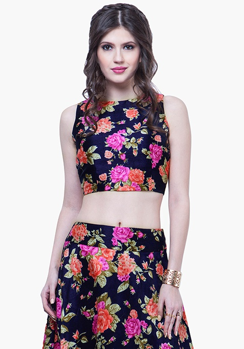 Navy Blooms Silk Crop Top - Pink