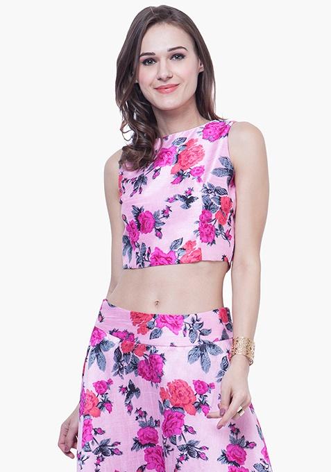 Floral Floss Silk Crop Top
