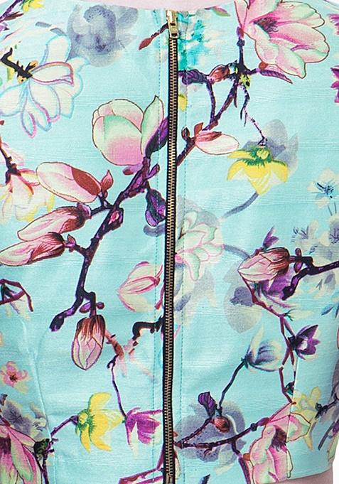 Floral Vine Silk Crop Top - Mint