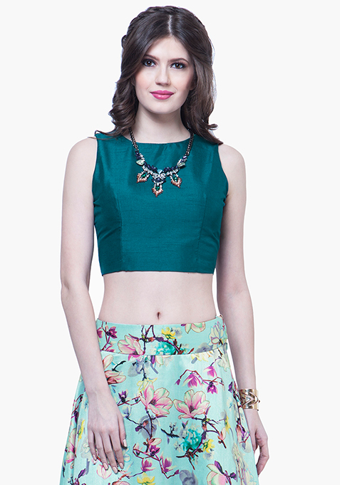 Teal Silk Crop Top