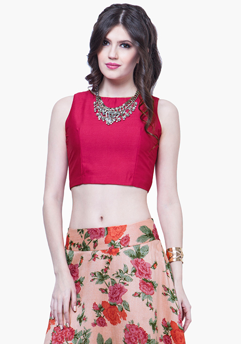 Cerise Silk Crop Top
