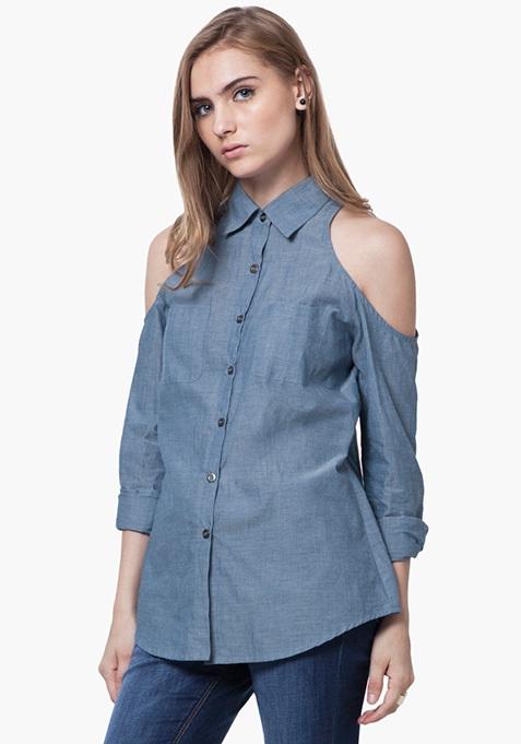 Cold Shoulder Chambray Shirt - Light