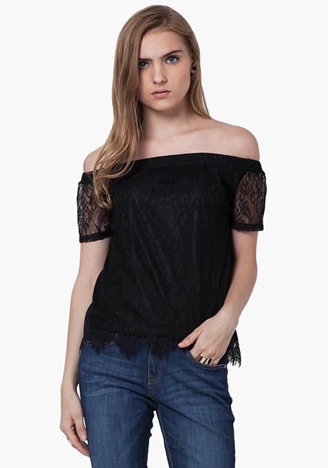 Off Shoulder Lace Top - Black
