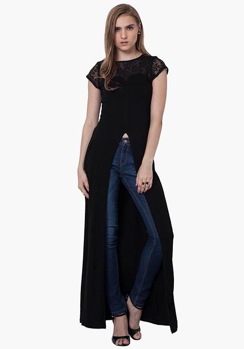 Lace Sass Maxi Top - Black