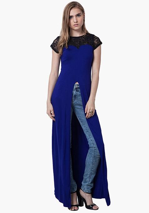 Lace Sass Maxi Top - Blue