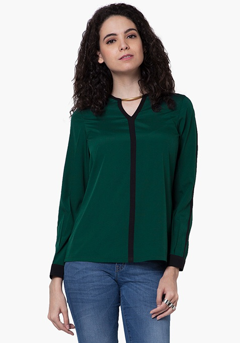 Gold Bar Link Top - Green