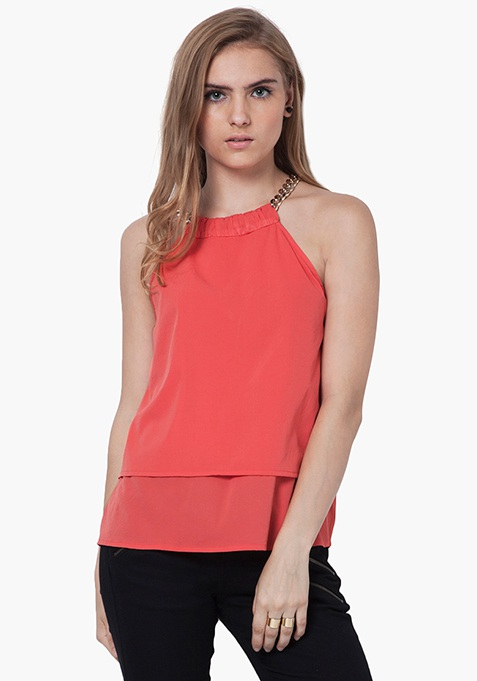 Gold Link Halter Top - Coral