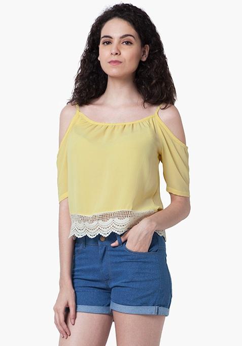 Cold Shoulder Peasant Top - Lemon