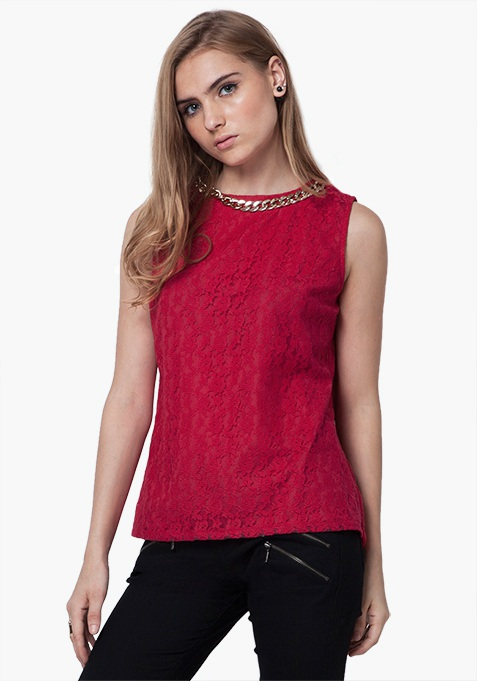 Gold Link Lace Top - Pink