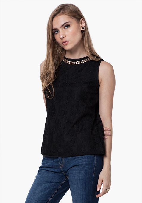 Gold Link Lace Top - Black