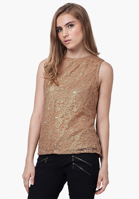 Golden Glam Lace Top