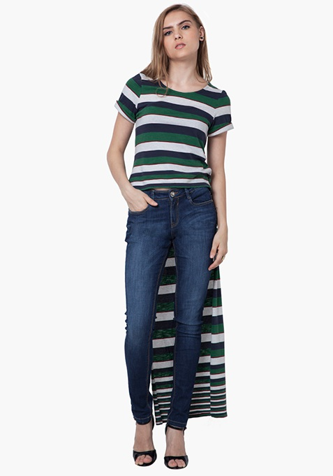High-Low Striped Top - Green