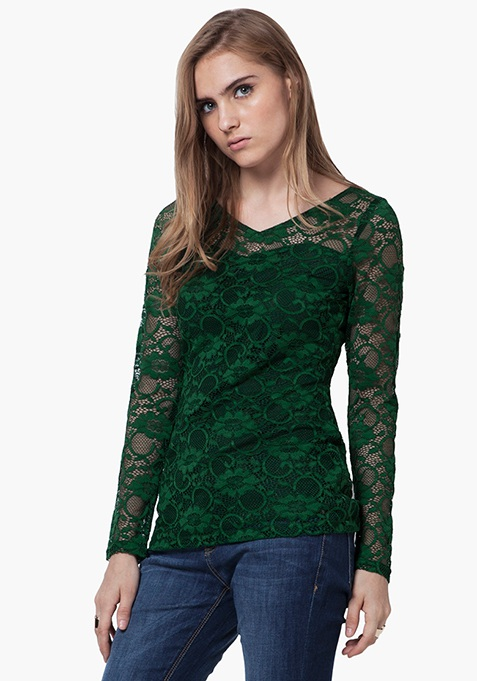 Floral Lace Top - Green
