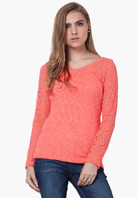 Floral Lace Top - Coral