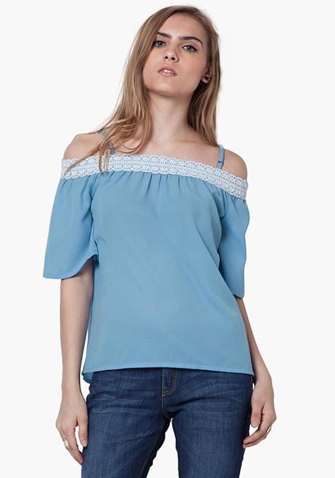 Boho Haute Bardot Top - Blue