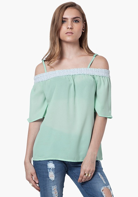 Boho Haute Bardot Top - Mint