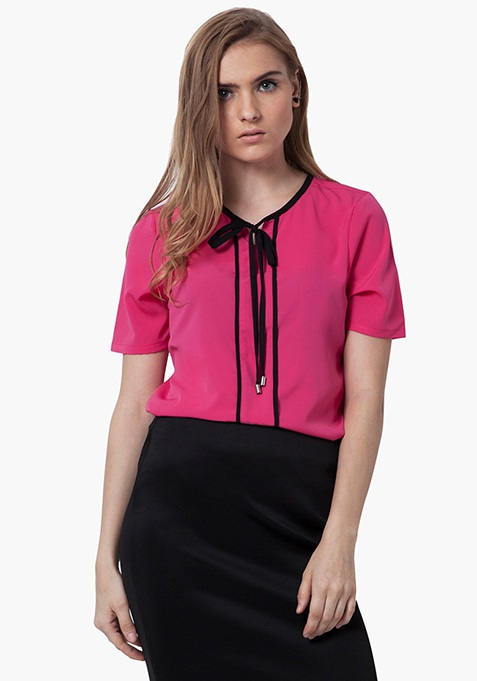 Skinny Knot Blouse - Pink