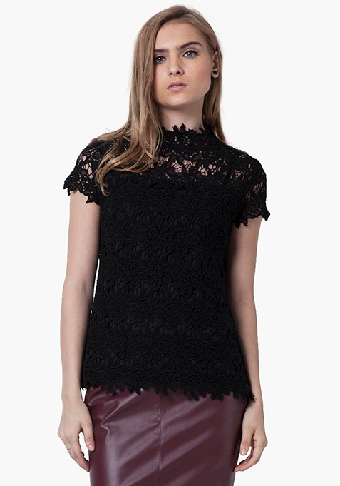 High Neck Crochet Top - Black