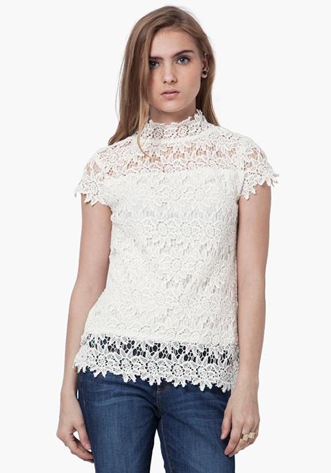 High Neck Crochet Top - White