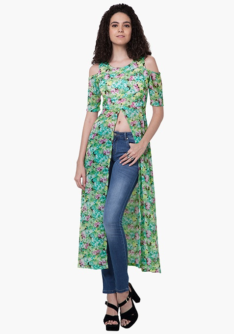 Cold Shoulder Maxi Top - Floral