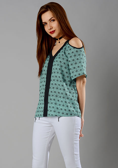 Abstract Cold Shoulder Top