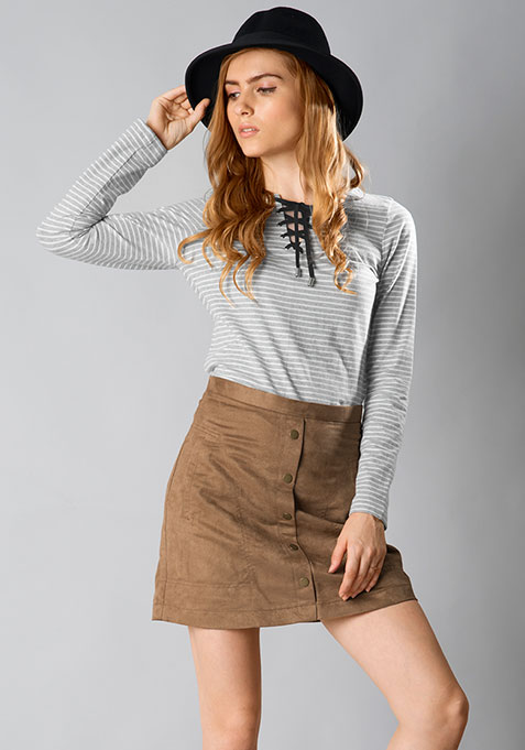 Tie-Up Winter Tee - Grey Stripes