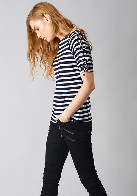 Striped Tie-Me-Up Tee - Navy