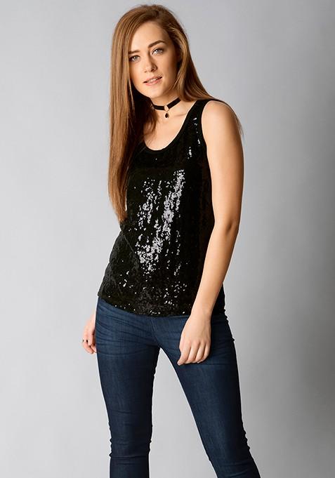 Sequin Style Top - Black