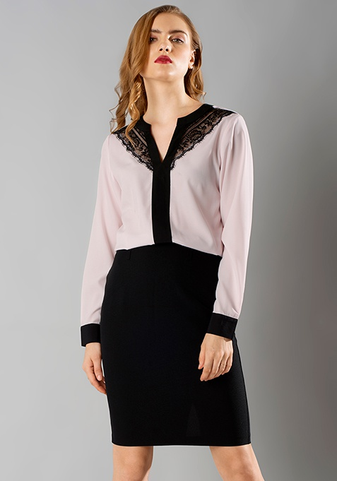Lace Leash Blouse - Blush