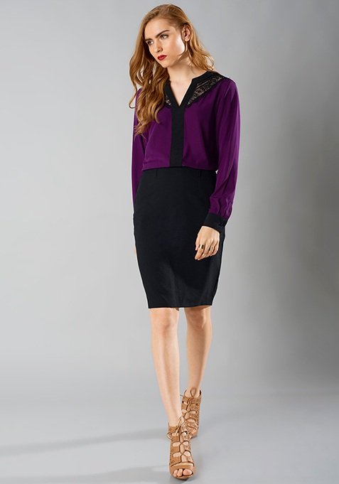 Lace Leash Blouse - Purple