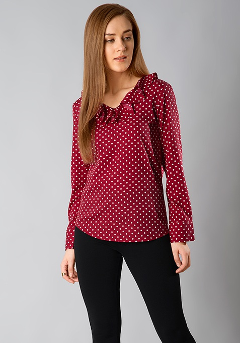 Ruffle Rad Blouse - Red Polka