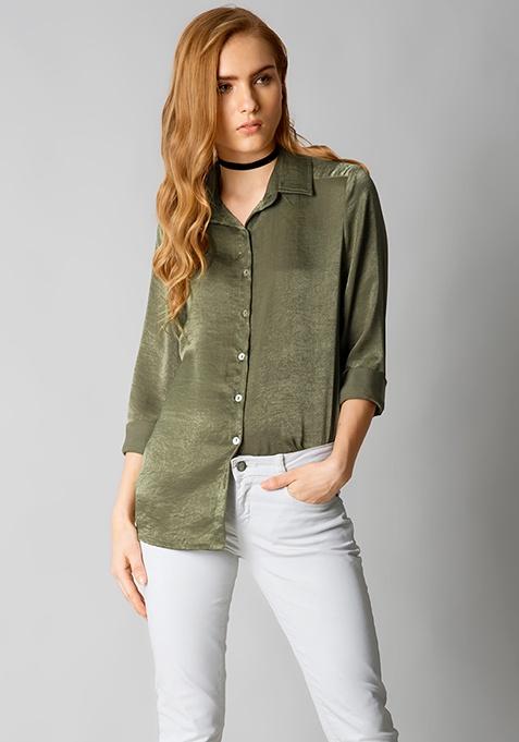 Classy AF Satin Shirt - Olive