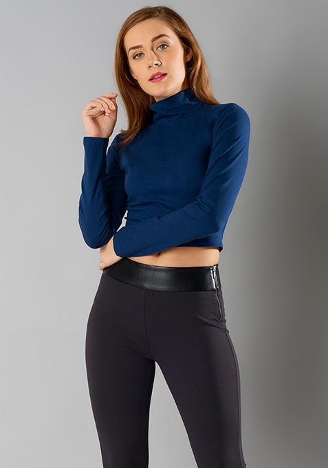 Turtle Neck Crop Top - Blue