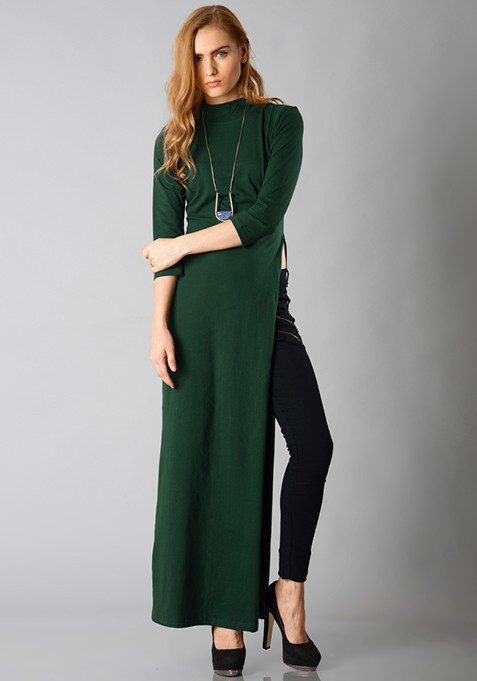Turtle Neck Maxi Top - Green