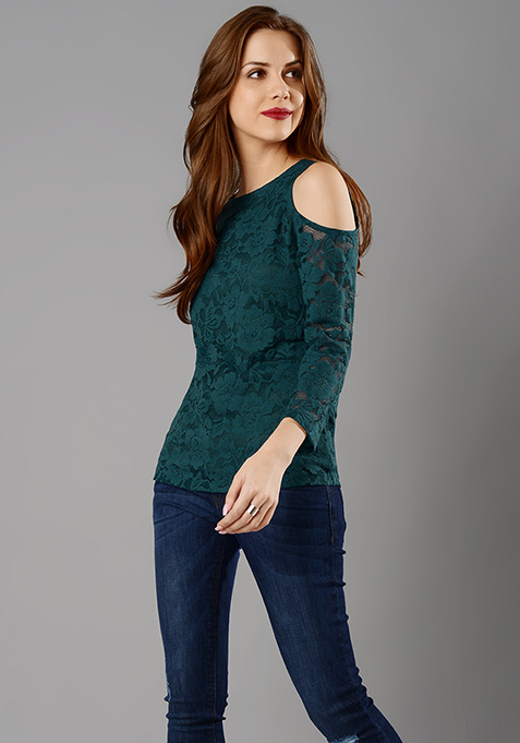 Cold Shoulder Lace Top - Teal