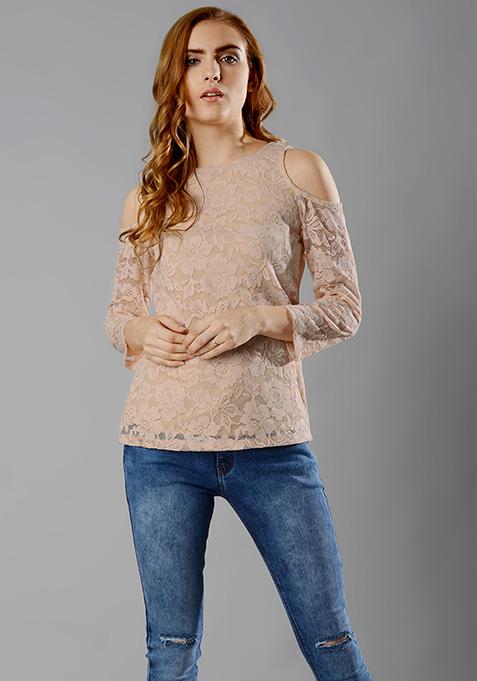 Cold Shoulder Lace Top - Blush