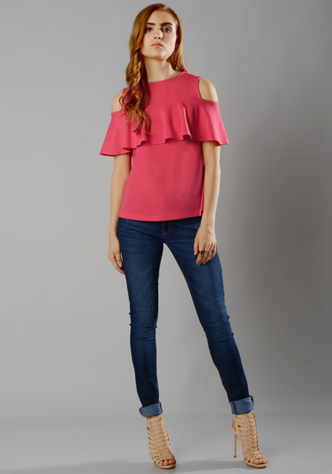 Ruffled Cold Shoulder Top - Coral