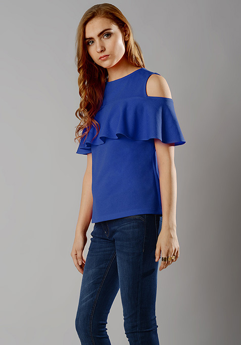 Ruffled Cold Shoulder Top - Blue