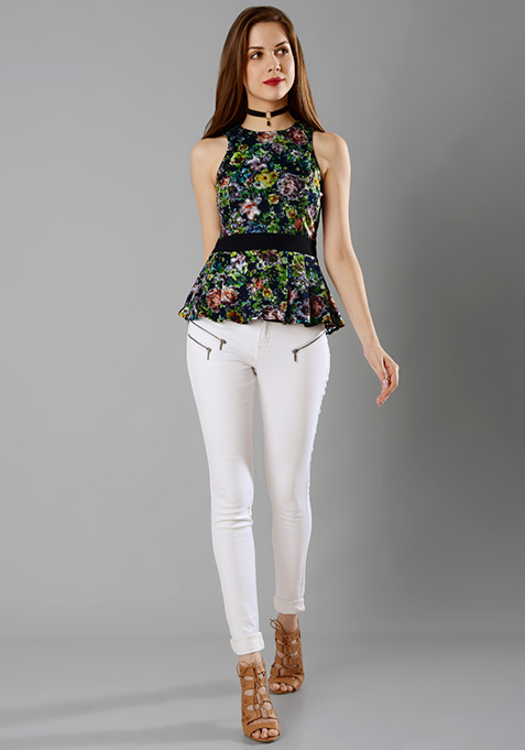 Belted Lace Peplum Top - Floral