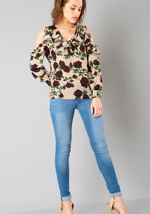 Beige Floral Cold Shoulder Top