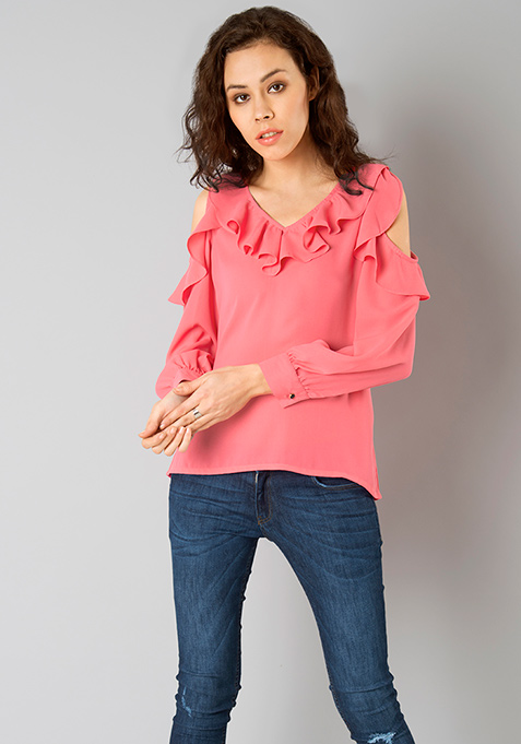 Pink Perfect Cold Shoulder Top